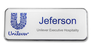 Executive Metal Badges - Silver border and white background | www.namebadgesinternational.us